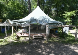 Photo of tent and platform